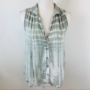 Cloth & Stone Anthropologie Tie Dye Green Tank S